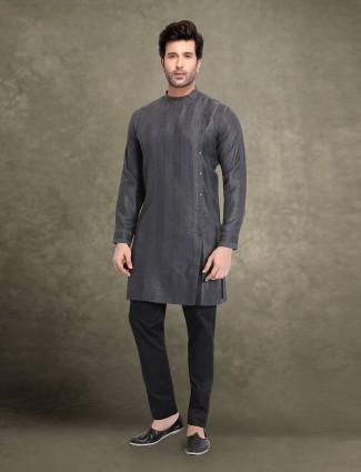 Dark grey cotton stripe design kurta suit