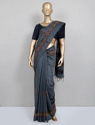 Dark grey hand embroidered festive saree