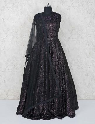 Dark maroon party gown in net