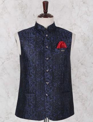 Dark navy printed pattern waistcoat