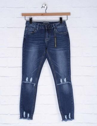 Deal blue hue ripped pattern denim women jeans