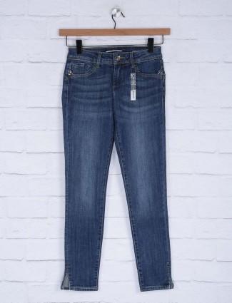Deal blue hue whiskered effect denim jeans