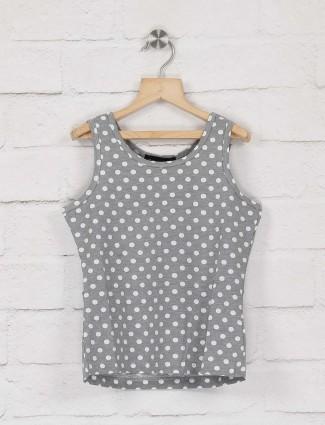 Deal grey color polka dot cotton top
