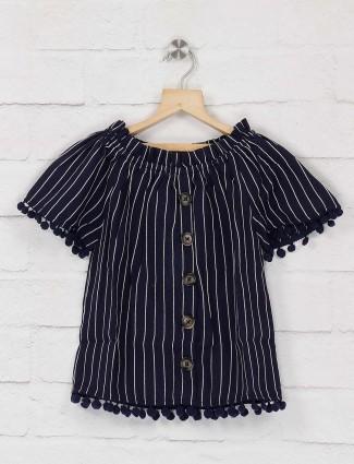 Deal navy blue cotton fabric stripe top