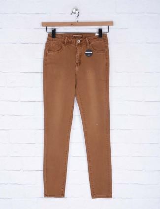 Deal plain brown denim casual jeans