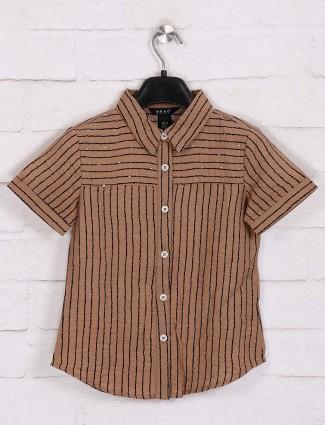 Deal stripe girls cotton top in brown