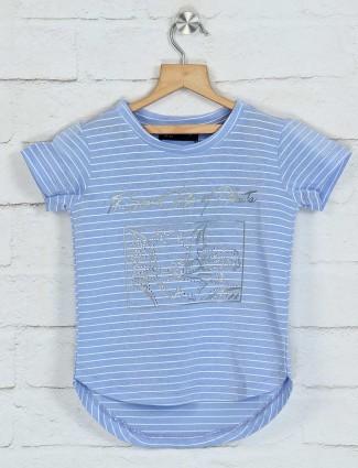 Deal stripe sky blue cotton top