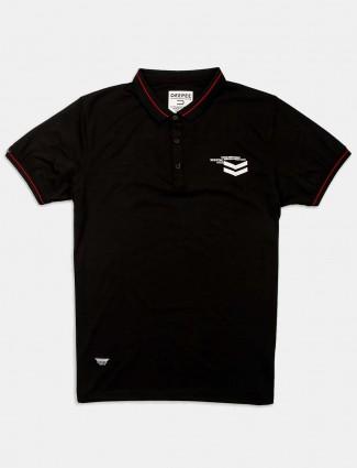 Deepee solid latest black slim fit t-shirt