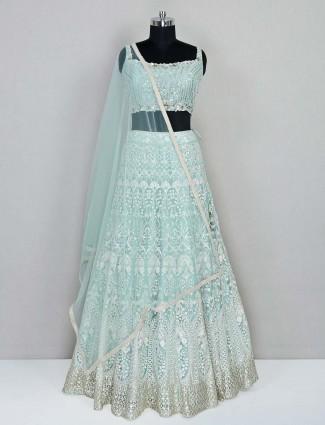 Designer aqua net wedding wear lehenga choli