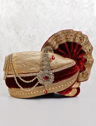 Designer beige maroon solid velvet turban