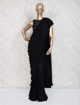 Designer black lycra ready to wear saree