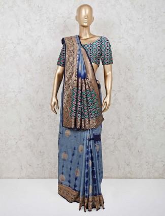 Designer blue pashmina silk saree for festivals