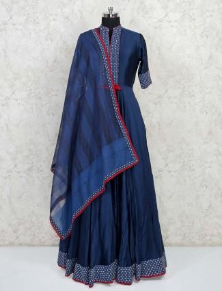 Designer blue raw silk wedding wear gown