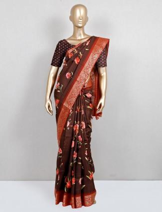 Designer brown printed festive wear saree in cotton