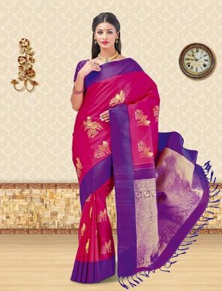Designer magenta kanchipuram silk saree