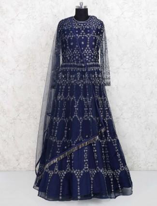 Designer navy hued wedding gown
