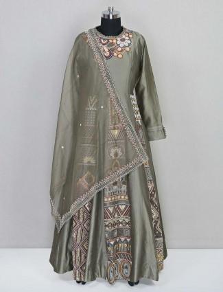Designer olive wedding salwar kameez in cotton silk