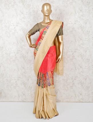 Designer pink semi silk wedding wear saree
