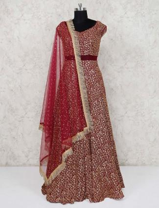 Designer wedding wear maroon silk anarkali suit