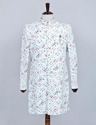 Designer white color silk fabric sherwani
