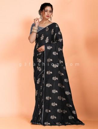 Dola silk festive function saree in black