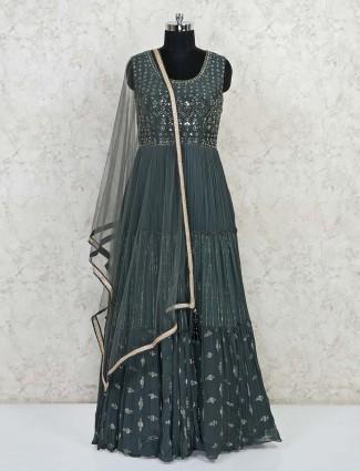 Drak grey georgette party wear salwar suit