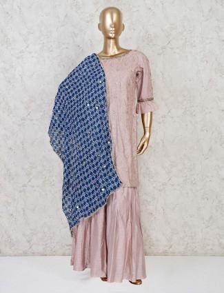 Dusty pink raw silk punjabi sharara