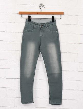 EBONY mint green washed effect jeans