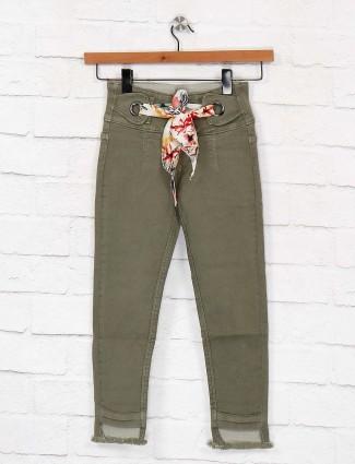 EBONY olive hue solid denim jeans