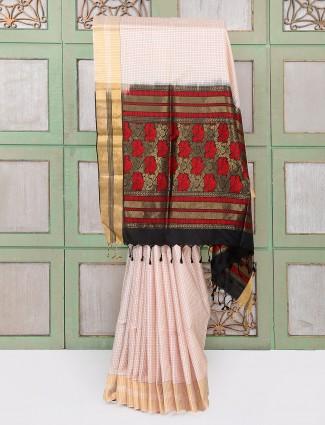 Elegant beige color party wear saree