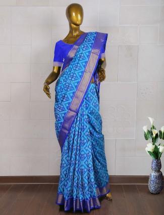 Elegant blue patola saree