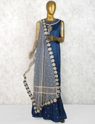 Elegant blue punjabi sharara suit in cotton silk