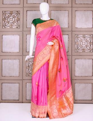 Elegant pink banarasi silk saree