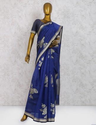 Elegant royal blue pure silk saree