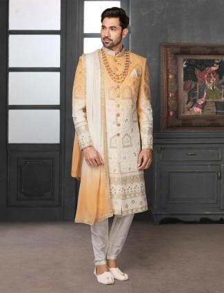Elegent orange and cream shaded sherwani