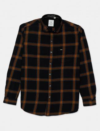Eqiq checks style black cotton shirt