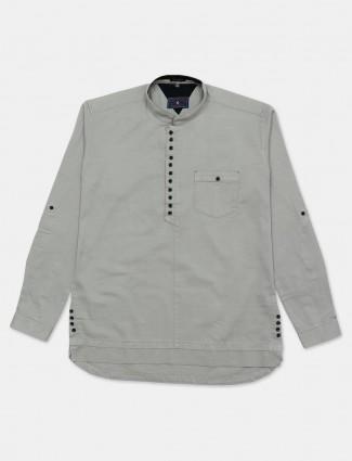 Eqiq grey solid full sleeve shirt