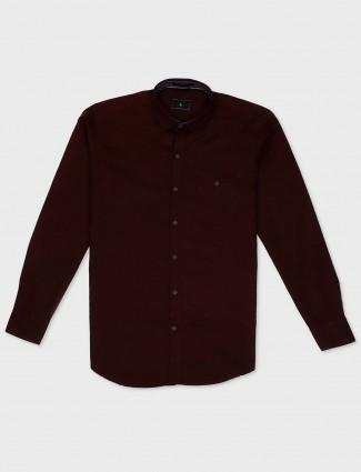 EQIQ maroon hue cotton shirt