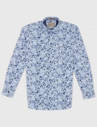 EQIQ printed blue casual mens shirt