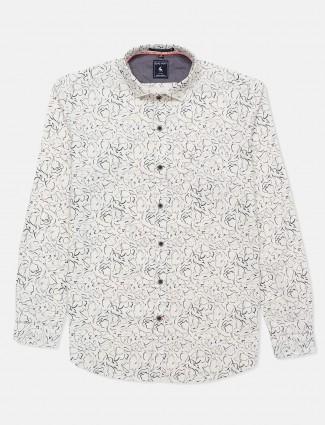 Eqiq printed cream slim collar shirt