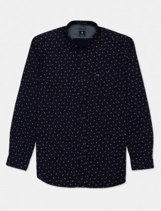 Eqiq printed navy cotton shirt for mens