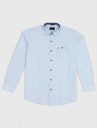 EQIQ sky blue solid cotton slim fit shirt