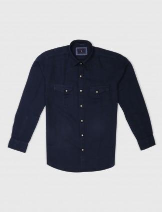 EQIQ solid navy cotton shirt