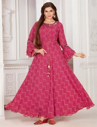 Exclusive magenta colour printed cotton kurti