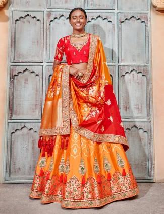 Exclusive orange banarasi silk semi stitched lehenga choli