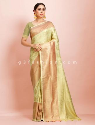 Exclusive pista green art kanjivaram silk wedding saree