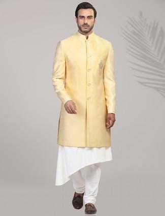 Exclusive yellow jacquard silk sherwani
