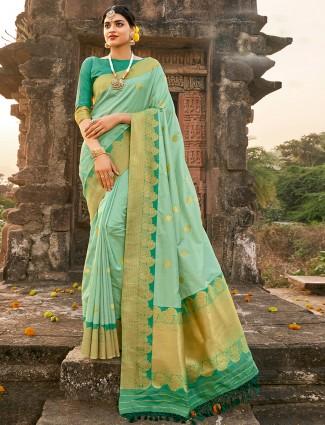 Fabulous aqua banarasi silk saree for wedding ceremonies