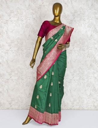 Festive function green hue classic silk saree
