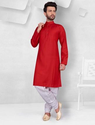 Festive function red cotton kurta suit